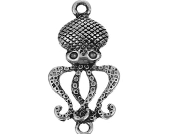 Octopus Pendant Connector Octopus Charm Steampunk Octopus Antiqued Silver Ocean Charm Squid Charm