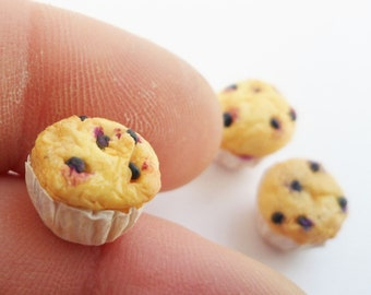 Blueberry muffins - 12th scale artisan miniature