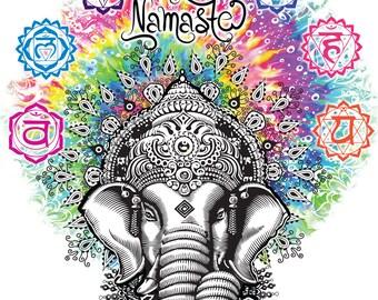 Mens T-shirt Ganesh Namaste- Om Aum Jade Flame Buddha Meditation Tie Dye Print TS742