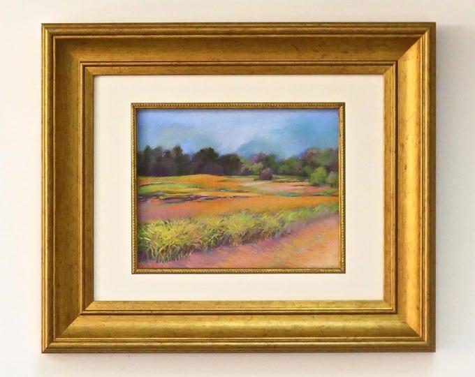 "Original Pastel Painting - Pastel Drawing - Landscape - Soft Pastels - Framed Art - Original - ""Fields of Gold"" Title - Free Priority Ship"