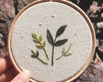 "Hand Stitched 4"" Botanical Embroidery"