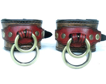 Leather BDSM Cuffs, Leather  Slave Cuffs, Leather Bondage Cuffs, Submissive Restraints- Dual Ring