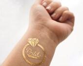 Gold Bride Temporary Tattoo, Diamond Ring, Individually Packaged Metallic Tattoo, Gold Tattoo, Flash Tattoo, Team Bride Tattoo Available