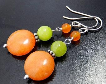 Orange Quartz Earrings, Neon Lime Green, Bright Colorful, Summer Dangles, Tangerine Quartzite Coins, Sterling Silver