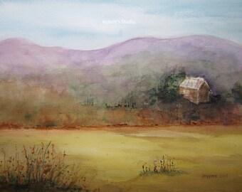 Landscape Watercolor Painting, archival print, landscape painting, country watercolor cabin painting, autumn print, watercolor art, print