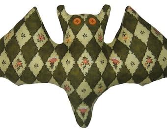 Diamond-Patterned Green Bat Pillow