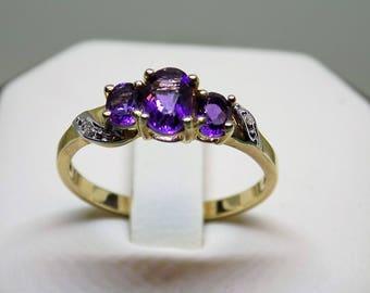10K YG Triple Amethyst and Diamond Ring