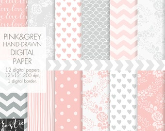 Pink and grey digital paper. Floral wreath, chevron, polka dot, heart hand drawn patterns in blush pink and paloma grey colors.