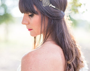 """Marriage Bohemian Headband  """"Mariane"""" bronze and white in pearls and chains"""