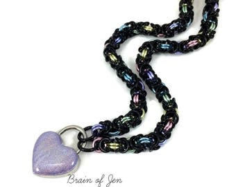 Black Pastel Rainbow BDSM Slave Collar with Holographic Heart Lock
