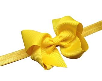 Yellow baby headband - baby headband, baby girl headband, baby headband bows, newborn headband, baby headbands, baby bows, baby hair bows