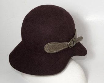 CHRISTMAS SALE , Black Cloche hat ,  Winter Women Hat
