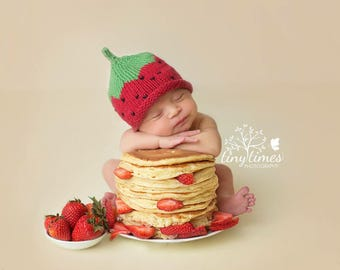Strawberry Hat, Knit Cotton Baby Hat great photo prop