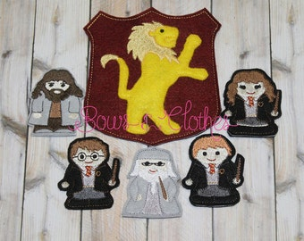Harry Potter finger puppets and case embroidery design digital instant download