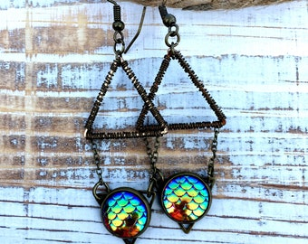 Rainbow Dragon Mermaid Scale Geometric Triangle Drop Pendant Earrings