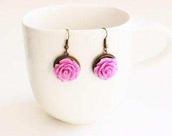Orchid Rose Earrings