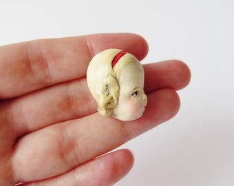 Handmade Doll Brooch Elise - Quirky Face Pin
