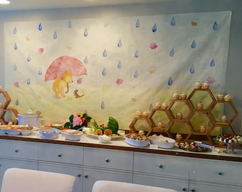 Winnie the Pooh & Bees Mural Back Drop for Baby Shower/Kids Party