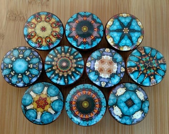 Cairo Mandala Slate Blue Wood Drawer Knobs on Cherry Wood Knob, Dresser knob, Kitchen pull, Drawer Pull, Kitchen Wood Knob Size 1.5 x 1.18