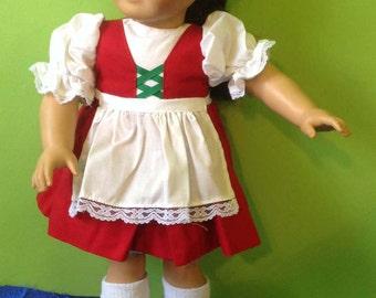 American Girl Doll Irish Jig Dance Costume -Dress, Apron, Petticoat Shoes, Socks, Briefs