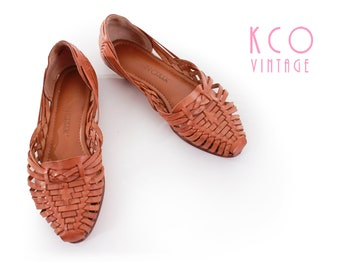 Woven Leather Sandals 80's Vintage Brown Retro Flats Women's Size 6.5 / Boho Summer Pointed Toe Slip Ons 1990's Retro US6.5 / UK 4.5 / EUR37