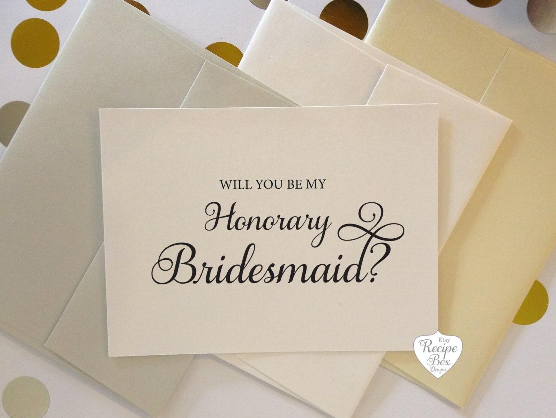Will you be my Honorary Bridesmaid Card Bridesmaid Proposal Asking ...