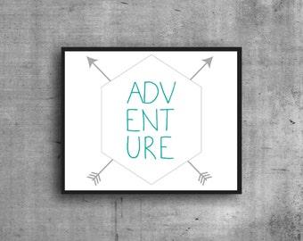 Adventure Digital Print, Art Print, Graphic Print, Digital Art, Wall Decor