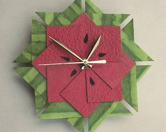 Watermelon Kitchen Clock, Origami Clock-Large