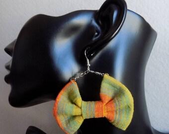 Bowtie orange green fabric chain earring