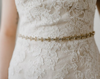 Gold Bridal Sash | Gold Bridal Belt | Rhinestone Bridal Belt | Crystal Bridal Sash | Boho Wedding Sash | Gold Aria Bridal Sash