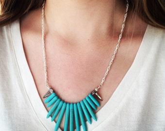 Turquoise Spike Statement Necklace, Spike Necklace, Tribal Bib Necklace