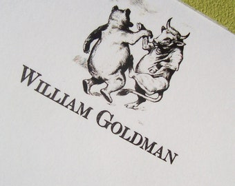 Bear Bull Note Personalized Note Pad Wall Street Stock Market Notepad Monogrammed Gift Graduate Dancing 75 pages 8 x 5