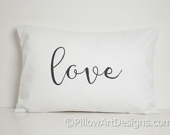 Lumbar Pillow Cover with word Love 12 X 18 White Cotton Lumbar Hand Painted Made in Canada