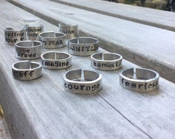 Personalized Ring, Custom Ring, Inscribed Ring, Engraved Ring, Inspirational Ring, Inspiration Jewelry, Namaste Ring, Message Ring, bff ring