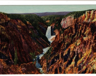 Grand Canyon of the Yellowstone and Tower Fall and Towers Yellowstone Park Vintage Postcard Duet Antique 1930's