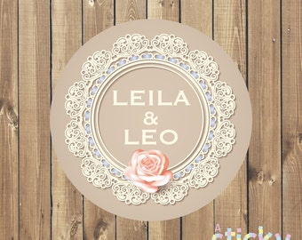 Personalized Wedding Stickers, Wedding Labels, Wedding Favor Stickers, Wedding Favours, Lace Wedding, Cream Lace, Wedding Stickers, Envelope