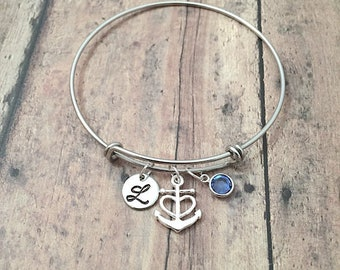 Anchor initial bangle with birthstone - anchor jewelry, nautical jewelry, anchor bangle, nautical bracelet, sailing jewelry, silver anchor