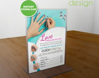 Color Street Nails, Pricing, Flyer/Poster, Pacific Waters - PRINTABLE Digital File