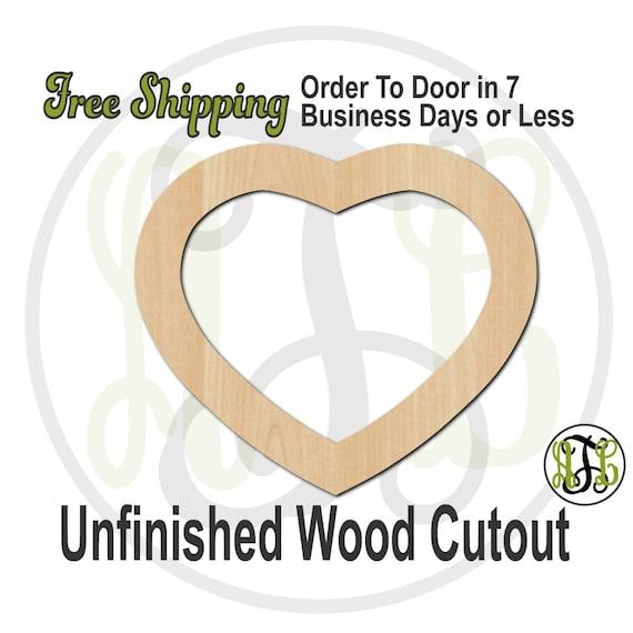 Heart Frame - 110006- Cutout, unfinished, wood cutout, wood craft, laser cut shape, wood cut out, Door Hanger, wooden, wall art