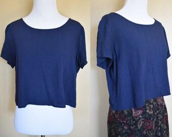 Gauzy Linen Crop Top / Blue Linen Crop Top / Linen Top / Blue Crop Top / Linen Blouse / Linen Shirt / Gauzy Blouse / Gauzy Shirt / Small