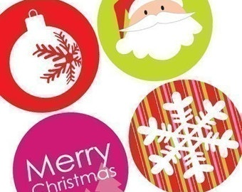 Mod Christmas - Funky Rounds - (1x1) One Inch Pendant Images - Buy 2 Get 1 Free - For magnets, buttons and pendants - Instant Download