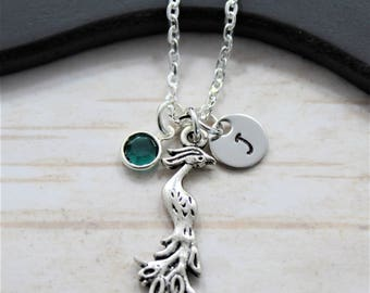 Phoenix jewelry etsy silver phoenix necklace for women phoenix pendant necklace personalized birthstone and initial phoenix mozeypictures Image collections