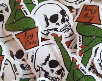Stickers / Stickers, SKULL, LEG DAY, (cactus legs and skull)
