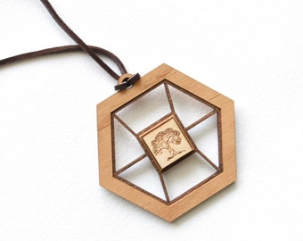 Engraved Wooden Necklace for Women. Laser Cut Real Wood Pendant.