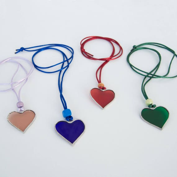 Heart glass necklace - Valentine's Day - Friendship Day - Anniversary - Ready To Ship