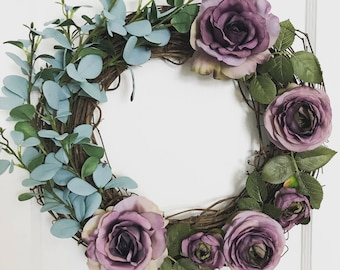 Spring Cottage Farmhouse Wreath Eucalyptus, Purple Roses and Peony's