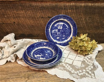 Antique Blue Willow Four Piece Set/John Steventon & Sons/Brown Steventon/Burslem/Made in England