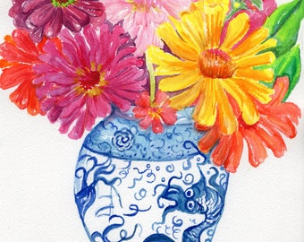 Zinnia watercolor painting  original,  zinnias in blue and white vase, zinnia wall art,  watercolor flowers zinnias painting floral