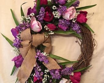Spring Wreaths - Spring Wreaths for Front Door - Spring Door Wreaths - Lilac Wreaths - Summer Door Wreaths - Tulip Wreaths - Summer Wreaths