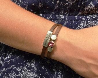 custom birthstone bracelet, birthday bracelet, custom engraved bracelet, name bracelet, birthstone jewelry, new mom gift